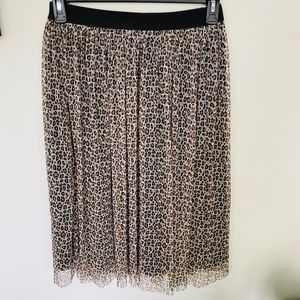 And A New Day Pleated Tulle Cheetah Print Skirt